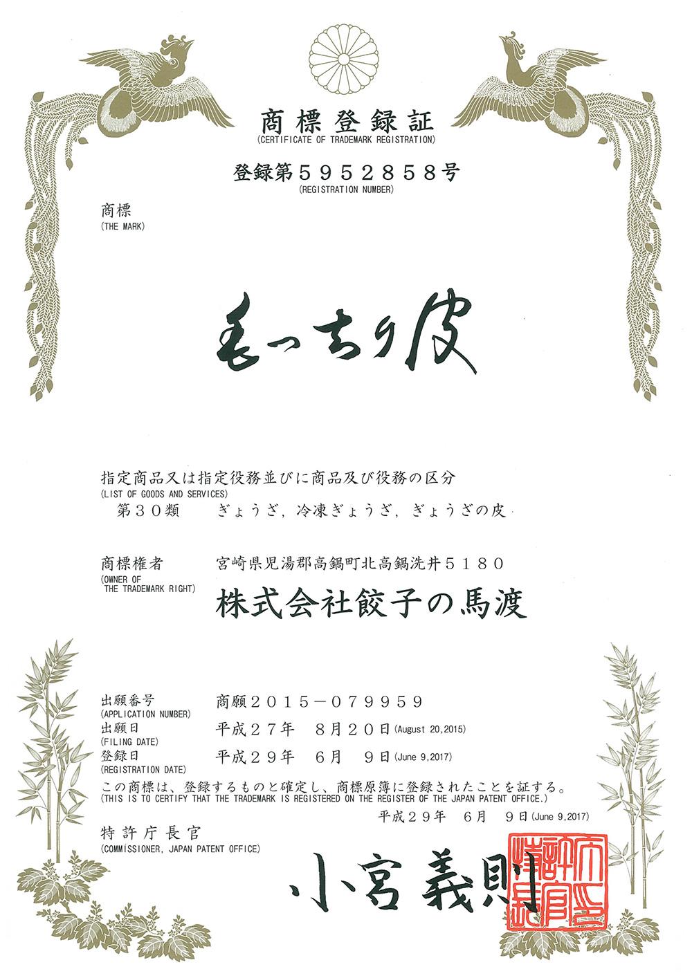 商標登録書(もっちり皮)